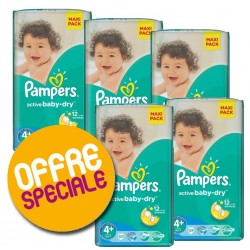 Pampers - Pack jumeaux 580 Couches Active Baby Dry taille 4+ sur Les Couches