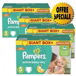 Pampers - Mega pack 108 Couches Active Baby Dry taille 5 sur Les Couches