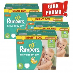 Pampers - Giga pack 216 Couches Active Baby Dry taille 5 sur Les Couches