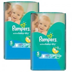 Pampers - Giga pack 270 Couches Active Baby Dry taille 5 sur Les Couches