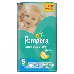 Pampers - Pack 64 Couches Active Baby Dry taille 5 sur Les Couches