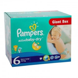 Pampers - Pack 96 Couches Active Baby Dry taille 6 sur Les Couches