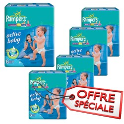 Pampers - Maxi giga pack 336 Couches Active Baby Dry taille 6 sur Les Couches