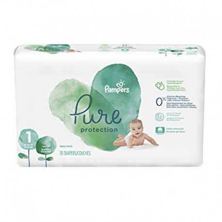 Pampers - Pack 35 Couches Pure Protection taille 1 sur Les Couches