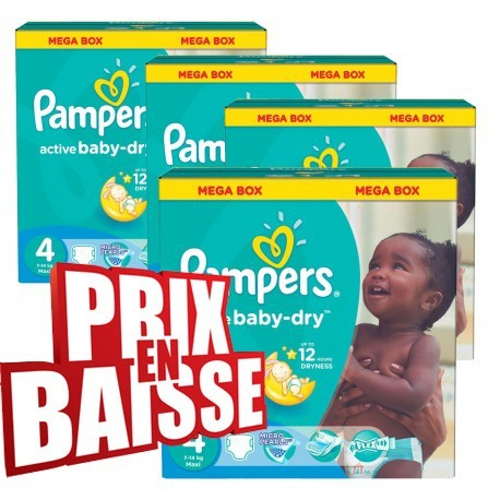 Pampers - Mega pack 153 Couches Active Baby Dry taille 4 sur Les Couches