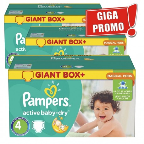 Pampers - Giga pack 204 Couches Active Baby Dry taille 4 sur Les Couches