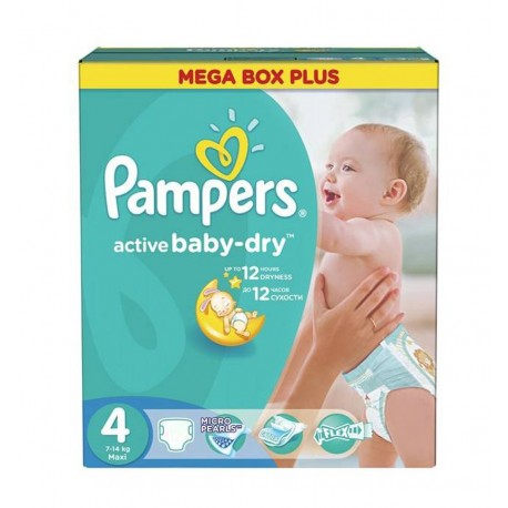 Pampers - Giga pack 255 Couches Active Baby Dry taille 4 sur Les Couches