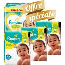 Pampers - Giga pack 200 Couches New Baby Premium Protection taille 4+ sur Les Couches