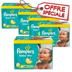 Pampers - Maxi giga pack 330 Couches Baby Dry taille 5+ sur Les Couches