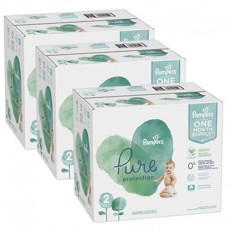 Pampers - Pack jumeaux 540 Couches Pure Protection taille 2 sur Les Couches
