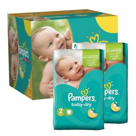 Pampers - Mega pack 184 Couches Baby Dry taille 2 sur Les Couches