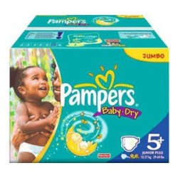 Pampers - 196 Couches Baby Dry taille 5+
