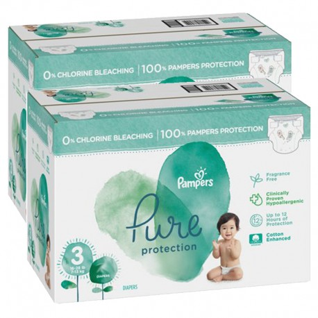 Pampers - Mega pack 132 Couches Pure Protection taille 3 sur Les Couches