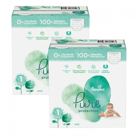 Pampers - Mega pack 105 Couches Pure Protection taille 1 sur Les Couches