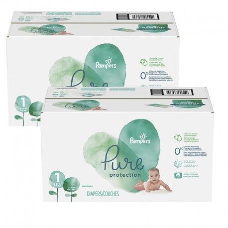 Pampers - Mega pack 140 Couches Pure Protection taille 1 sur Les Couches