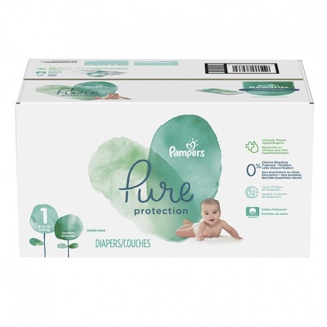 Pampers - Mega pack 175 Couches Pure Protection taille 1 sur Les Couches