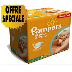 Pampers - Maxi giga pack 300 Couches Sleep & Play taille 4