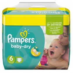 Pampers - 124 Couches Baby Dry taille 6 sur Les Couches