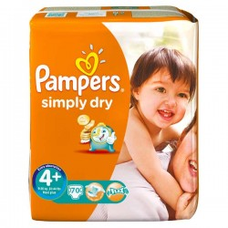 Pampers - 70 Couches Simply Dry taille 4+ sur Les Couches
