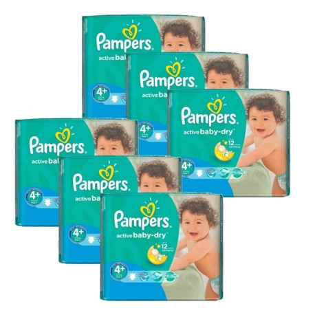 Pampers - Pack 80 Couches Active Baby Dry taille 4+ sur Les Couches