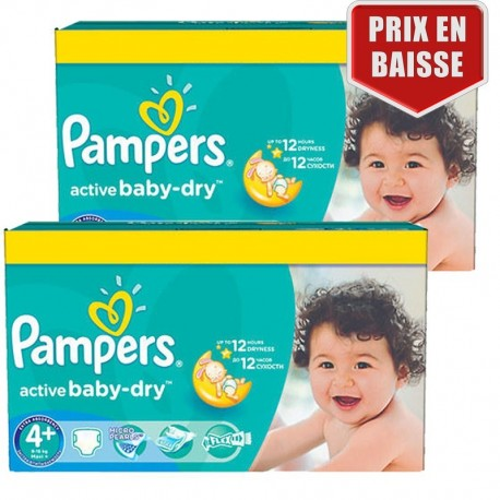 Pampers - Maxi giga pack 360 Couches Active Baby Dry taille 4+ sur Les Couches