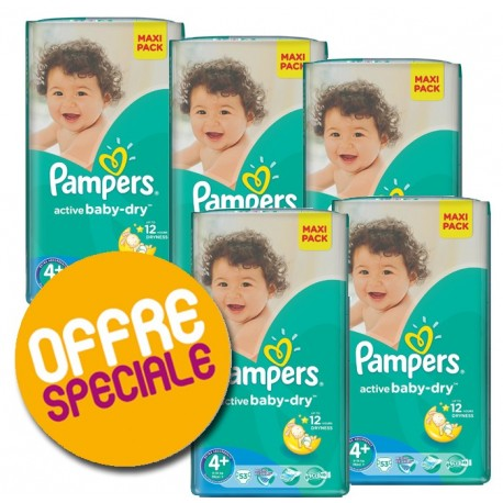 Pampers - Maxi mega pack 400 Couches Active Baby Dry taille 4+ sur Les Couches