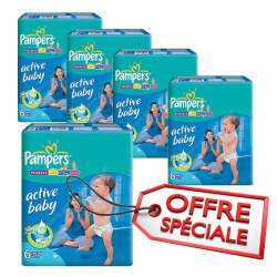 Pampers - Pack 72 Couches Active Baby Dry taille 6 sur Les Couches