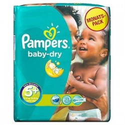 Pampers - Pack 68 Couches Baby Dry taille 5+ sur Les Couches