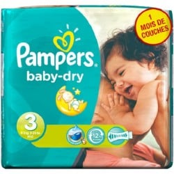 Pack 38 Couches Pampers Baby Dry taille 3