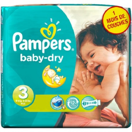 Pack 38 Couches Pampers Baby Dry sur Les Couches