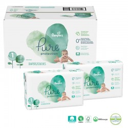 Pampers - Mega pack 100 Couches Pure Protection taille 1 sur Les Couches