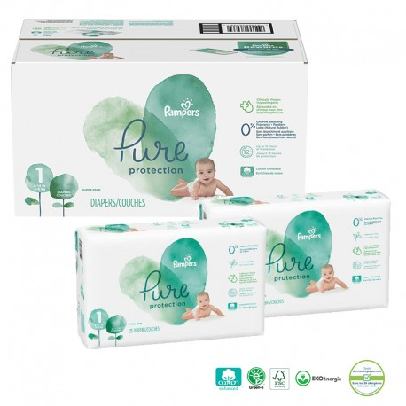 Pampers - Mega pack 150 Couches Pure Protection taille 1 sur Les Couches