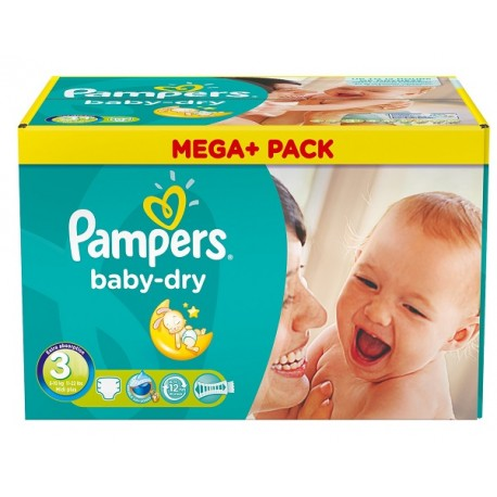 Pampers - Mega pack 114 Couches Baby Dry taille 3 sur Les Couches
