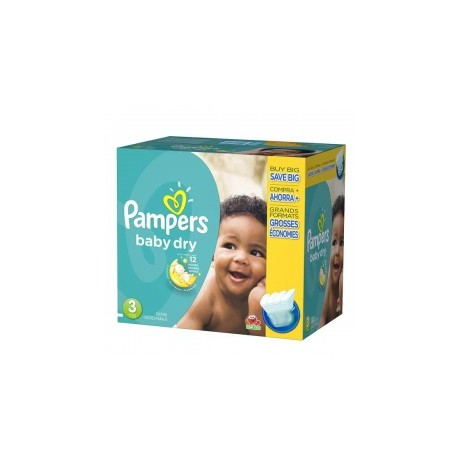 Pampers - Mega pack 152 Couches Baby Dry taille 3 sur Les Couches