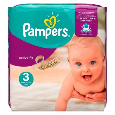 Pampers - Pack 68 Couches Active Fit taille 3 sur Les Couches