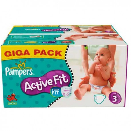 Pampers - Maxi mega pack 408 Couches Active Fit taille 3 sur Les Couches