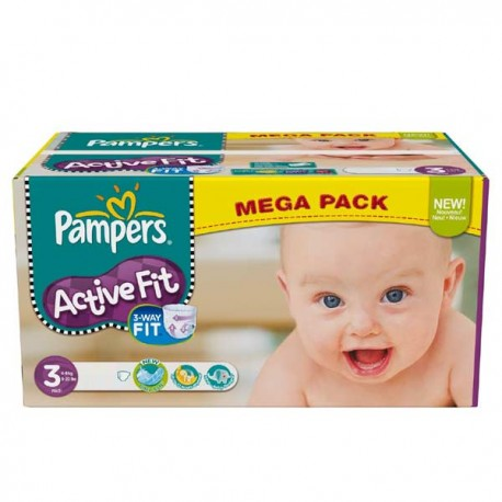 Pampers - 612 Couches Active Fit taille 3 sur Les Couches